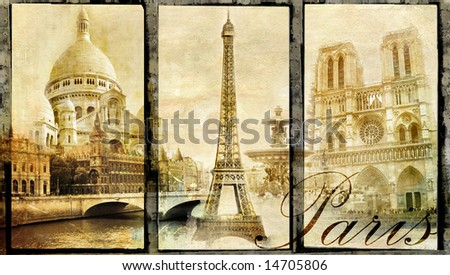 Paris - old photo-album series - stock photo