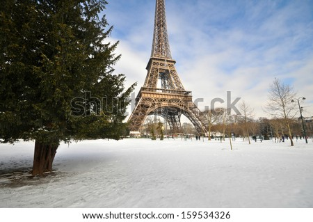 Paris on a sunny winter day - stock photo