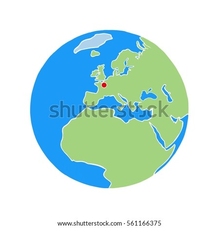 Paris On World Map White Background Stock Illustration 561166375 ...