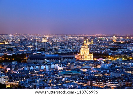 Paris panorama, France at night. View on Les Invalides from Eiffel Tower. - stock photo
