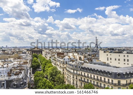Paris Panorama. Roman Catholic church Madeleine in the background. France