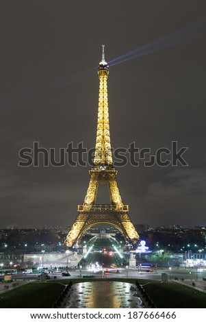 PARIS, PARIS/FRANCE - FEBRUARY 14 - Eiffel Tower illuminated on St Valentines day on February 14, 2012 in Paris, France. / Eiffel Tower Illuminated at Night