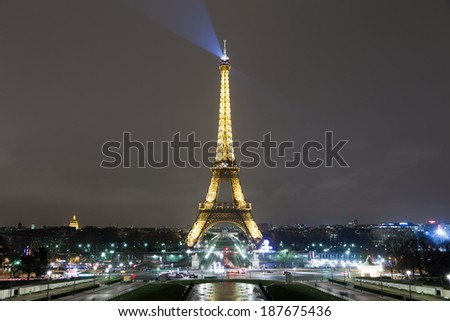 PARIS, PARIS/FRANCE - FEBRUARY 14 - Eiffel Tower illuminated on St Valentines day on February 14, 2012 in Paris, France. / Eiffel Tower Illuminated at Night - stock photo