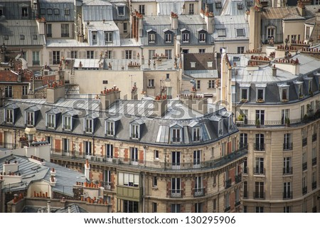 Paris rooftops seen from tower of Notre Dame - stock photo