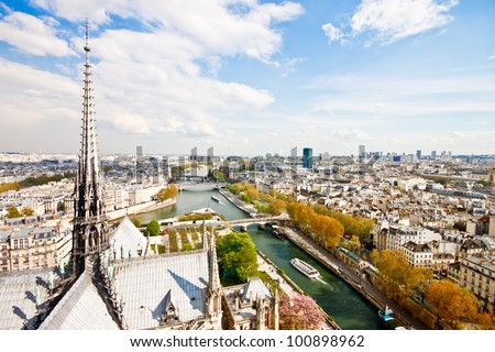 Paris's skyline from Notre Dame Cathedral i a sunny day - stock photo
