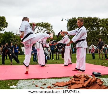 PARIS - SEPT 22: Four unidentified men Taekwondo on September 22, 2013 in Paris, France. Famillathlon, action for raising awareness to sport, takes place in Champ de Mars (near Eiffel tower). - stock photo