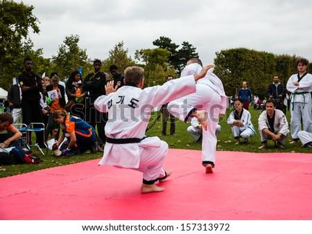 PARIS - SEPT 22: Two unidentified men perform Taekwondo on September 22, 2013 in Paris, France. Famillathlon, action for raising awareness to sport, takes place in Champ de Mars (near Eiffel tower). - stock photo