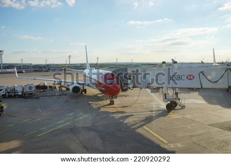 PARIS - SEPTEMBER 03: jet flight docked in Orly Airport on September 03, 2014 in Paris, France. Paris Orly Airport is an international airport located partially in Orly, south of Paris
