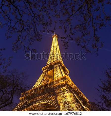 PARIS - SEPTEMBER 20: Light Performance Show on September 20, 2013 in Paris. The Eiffel Tower stands 324 metres  tall. Monument was built in 1889.