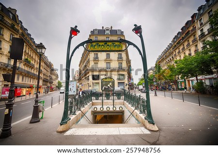 PARIS - SEPTEMBER 05, 2014: Paris Metropolitain entrance. The Paris Metro or Metropolitain is a rapid transit system in the Paris Metropolitan Area - stock photo
