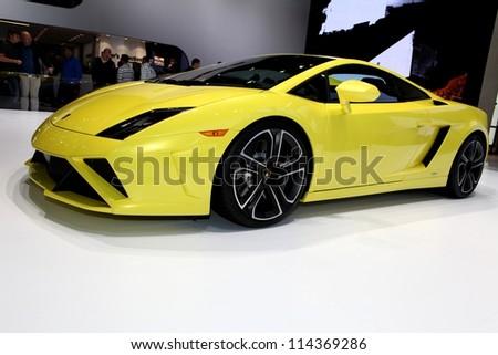 PARIS - SEPTEMBER 30: The Lamborghini Gallardo LP 560-4 displayed at the 2012 Paris Motor Show on September 30, 2012 in Paris - stock photo