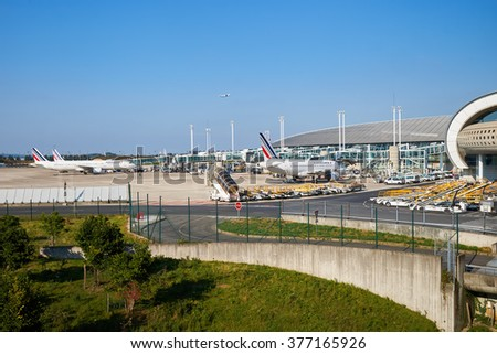 PARIS - SEPTEMBER 10, 2014: view of Charles de Gaulle Airport. Paris Charles de Gaulle Airport, also known as Roissy Airport, is one of the world's principal aviation centres. - stock photo