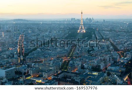 PARIS - SEPTEMBER 24, 2013: View of Paris with the Eiffel tower from the Montparnasse Tower at sunset