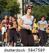 Paris, September 2007, women marathon of 6,5 km around Tour Eiffel - stock photo