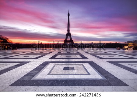 Paris Sky on Fire - stock photo