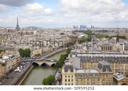 Paris skyline and Seine River, France - stock photo