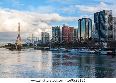 Paris skyline at dusk - stock photo