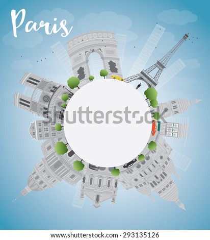 Paris skyline with grey landmarks, blue sky and copy space. Business travel and tourism concept with place for text. Image for presentation, banner, placard and web site. - stock photo