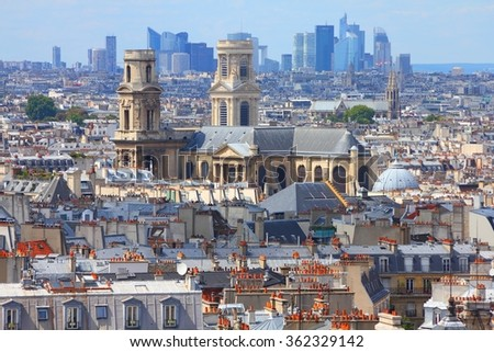 Paris skyline with Saint Sulpice church. Old and new architecture.