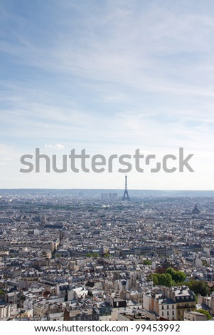 Paris skyline with the Eiffel Tower in the distance