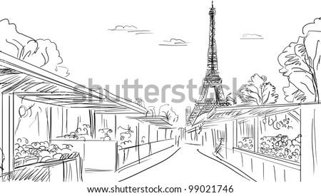 Paris street - illustration - stock photo