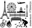 Paris Street Park Eiffel Tower Ferris Wheel - stock photo