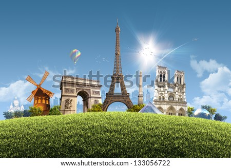 Paris Summer - photographic composition of famous landmarks of Paris, France -  sunny cityscape background with grassy hill and clear blue sky - great for posters, cards or banners - stock photo