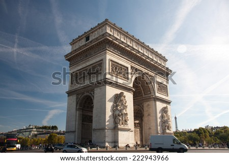 Paris - The Arc de Triomphe - stock photo