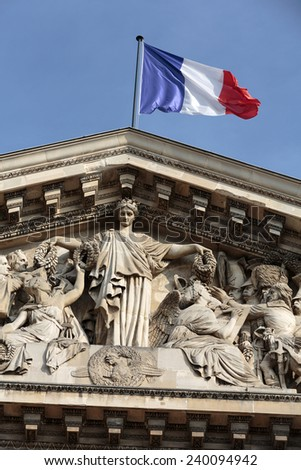 Paris - The pediment of Pantheon.  Construction of the building started in 1757 and was finished in 1791 - stock photo