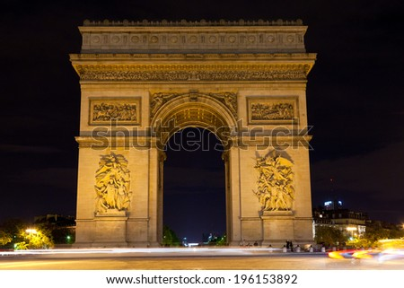 Paris, Triumphal arch at night