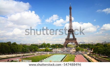 Paris - Trocadero gardens and Eiffel Tower.
