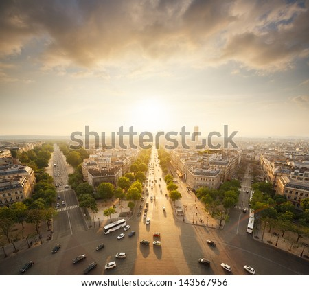 Paris view from Arc de Trimphe - stock photo
