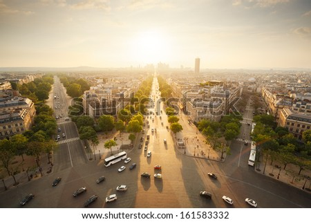 Paris view from Arc de Triomphe - stock photo
