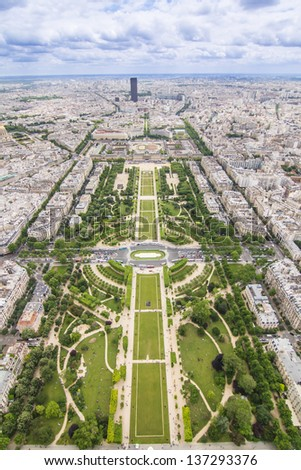 Paris-view from Eiffel tower - stock photo