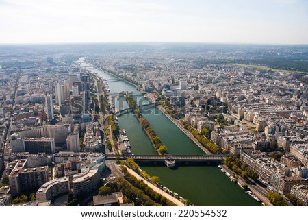Paris view from the Eiffel tower - river Seine
