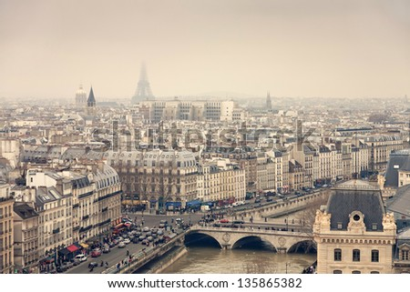 Paris view from the Notre-Dame Cathedral - stock photo