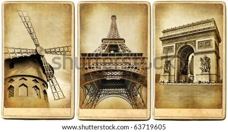 Paris - vintage cards series - stock photo