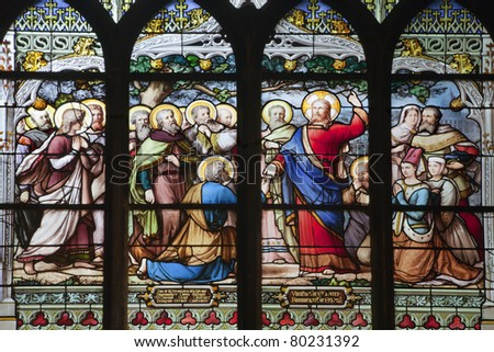 Paris - windowpane from Saint Severin gothic church - Jesus gave Peter the authority of the Keys