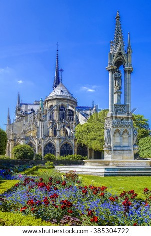 Paris with Notre Dame cathedral in  France - stock photo