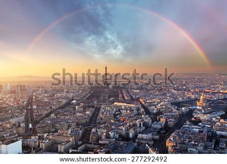 Paris with rainbow - skyline - stock photo