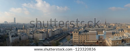 Paris. Wonderful panoramic aerial view of the city from Notre Dame Cathedral. - stock photo
