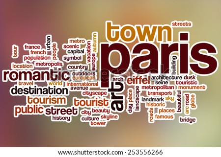 Paris word cloud concept with abstract background - stock photo