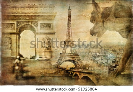 Parisian mystery - artwork in retro style - stock photo