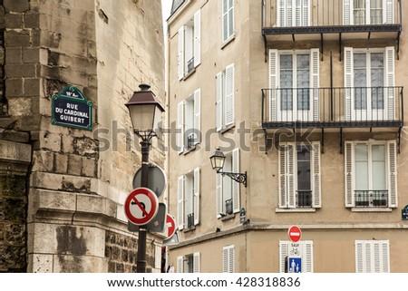 Parisian street photo of classic architecture - stock photo