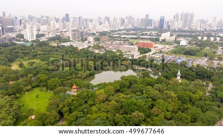 Park and city landscape, top view of park and building in Bangkok