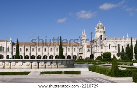 Park and gardens of the Jeronimos monastery Belem Portugal