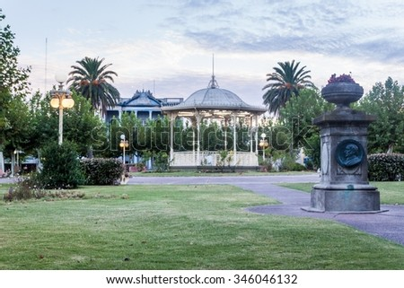 Park at a town square in Fray Bentos, Uruguay - stock photo
