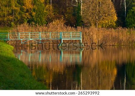 Park autumn water lake reflection tree - stock photo