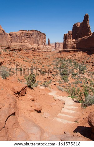 Park Avenue in Arches national park in Utah - stock photo