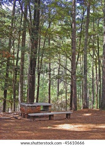 Park bench and Fire Pit in Rancho Nuevo Park in Chiapas, Mexico - stock photo